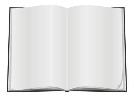 Blank open book with white pageon white background