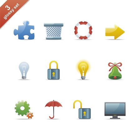 Set of 12 glossy web icons Part 3 (see other in my portfolio) Illustration