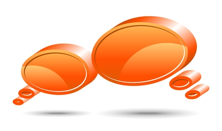 Two vector glossy chat box in orange color. Vector