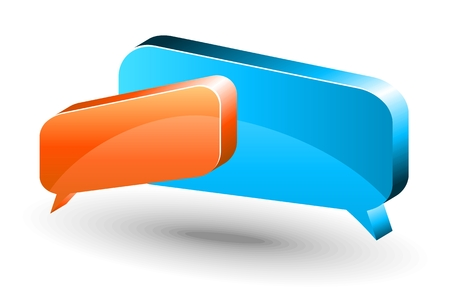 Two vector glossy chat box in orange and blue color. Vector