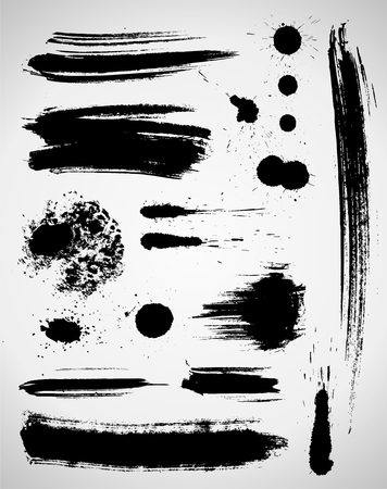 brush in: Set of grungy brush strokes in black color