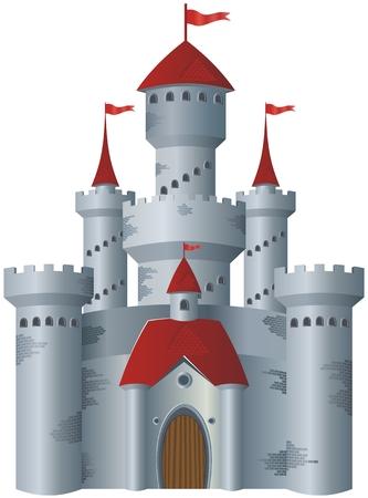 castillo medieval: Castillo de cuento de hadas en el fondo blanco