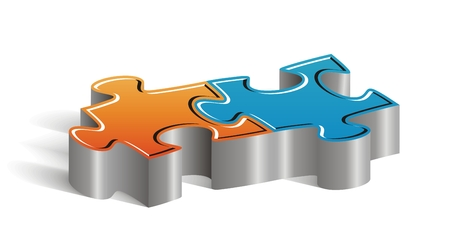 color match: Beautiful concept couple of puzzle pieces to insert your marketing text