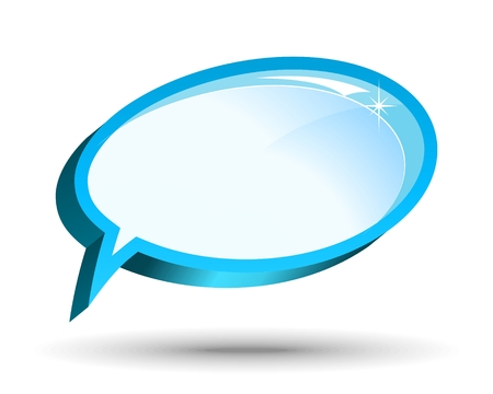 Two vector glossy chat box in blue color. Vector