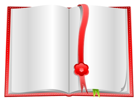 Blank open book with white pageon white background and with bookmarks Vector