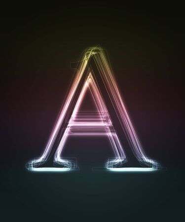 Glowing font. Shiny letter A. photo