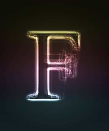 alphanumeric: Glowing font. Shiny letter F. Stock Photo