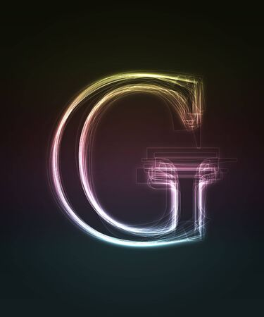 Glowing font. Shiny letter G. photo