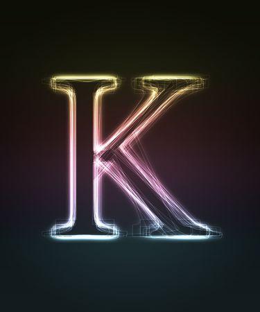 shin: Glowing font. Shiny letter K. Stock Photo