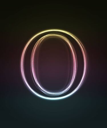 alphanumeric: Glowing font. Shiny letter O.