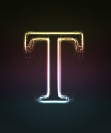 alphanumeric: Glowing font. Shiny letter T.