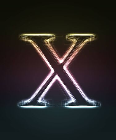 Glowing font. Shiny letter X. Stock Photo - 5245508