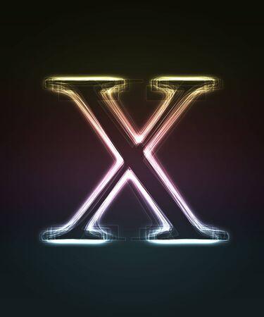 shin: Glowing font. Shiny letter X.