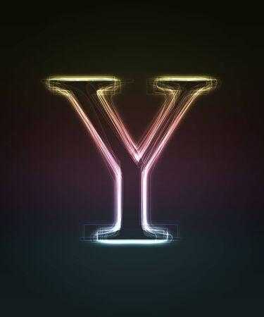 shin: Glowing font. Shiny letter Y.
