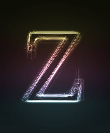 Glowing font. Shiny letter Z. photo