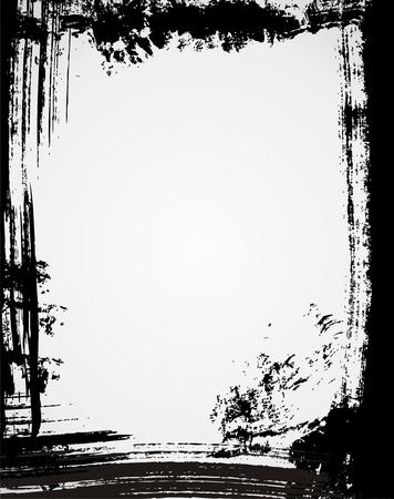 awful: Grunge frame in black color Illustration