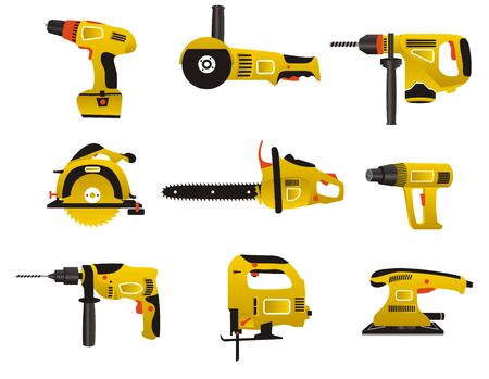 Electric instrument for handwork in yellow and black color Vector