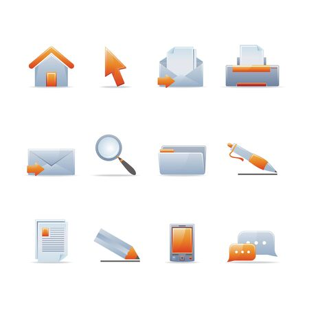 Set of 12 glossy web icons (see other in my portfolio) Stock Vector - 5434726