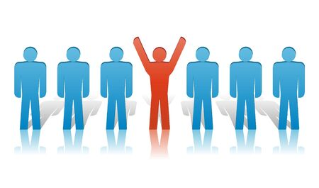 dais: Vector group of people illustration in blue and red Illustration