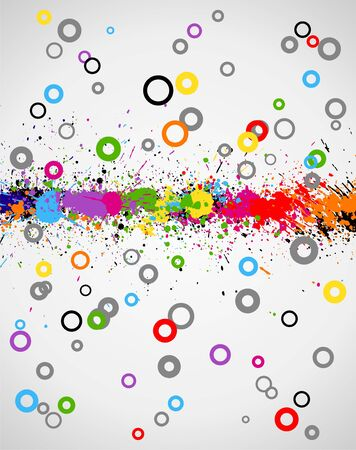 Illustration of line color paint splashes on cartoon background Vector