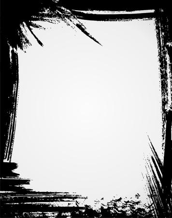 blab: Il grunge telaio in colore nero Vettoriali