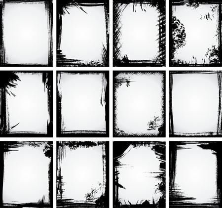 blab:  Un set di 12 fotogrammi grunge fatta con vernice, gessi e carboncino