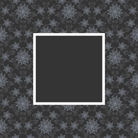 Seamless floral pattern with frame in gray color Vector
