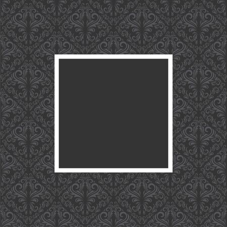 Seamless floral pattern with frame in gray and black color Vector