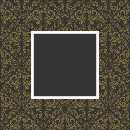 Seamless golden floral pattern with frame in gray color Vector