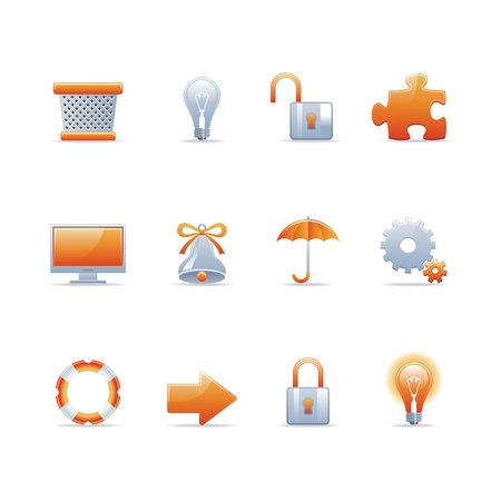 Set of 12 glossy web icons Part 3 (see other in my portfolio) Иллюстрация