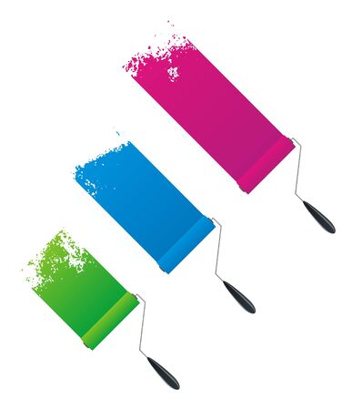 Vector painted banners & paint accessories in different colors Stock Vector - 5441750