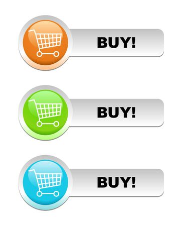 sopping: Shopping glossy basket illustration in three color blue, green, orange