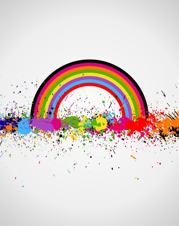 Illustration of line color paint splashes on white background Vector