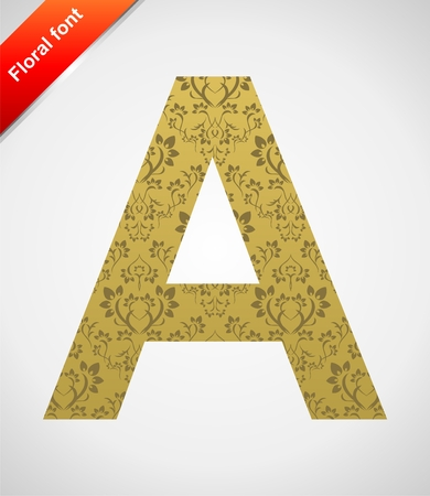 Floral letter isolated on the seamless retro golden damask background Stock Vector - 5441756