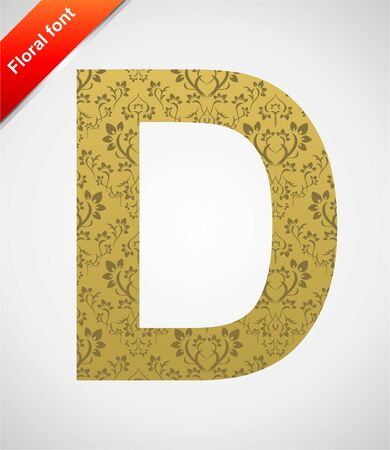 Floral letter isolated on the seamless retro golden damask background Vector