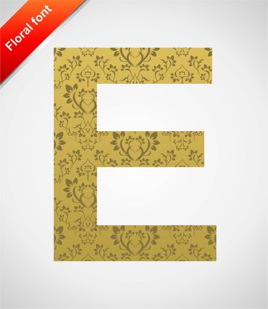Floral letter isolated on the seamless retro golden damask background Stock Vector - 5441759