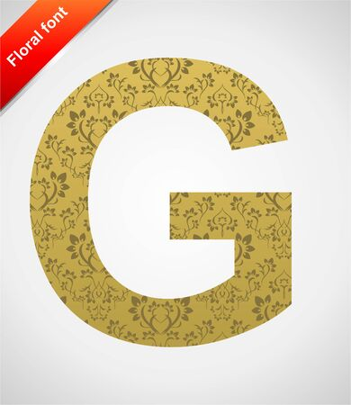 Floral letter isolated on the seamless retro golden damask background Stock Vector - 5441763