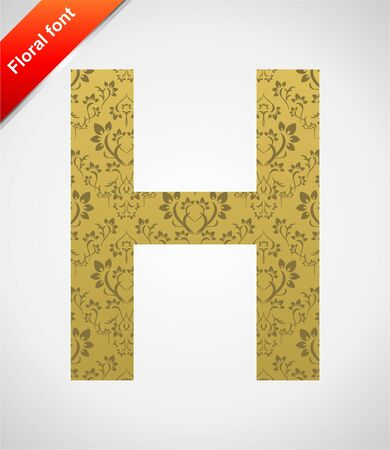 Floral letter isolated on the seamless retro golden damask background Stock Vector - 5441758
