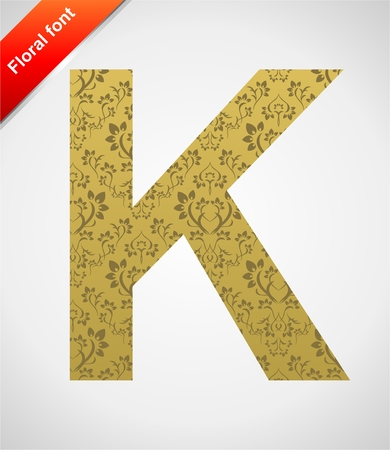 Floral letter isolated on the seamless retro golden damask background Stock Vector - 5604592