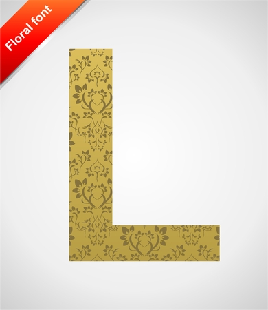 Floral letter isolated on the seamless retro golden damask background Stock Vector - 5604552