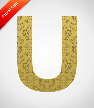 Floral letter isolated on the seamless retro golden damask background Stock Vector - 5604567