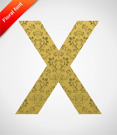Floral letter isolated on the seamless retro golden damask background Stock Vector - 5604566