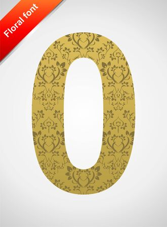 Floral number 0 isolated on the seamless retro golden damask background Vector