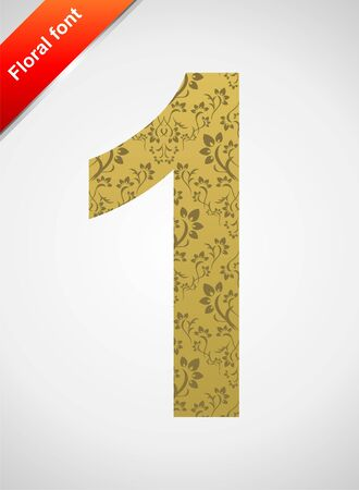 Floral number 1 isolated on the seamless retro golden damask background Vector