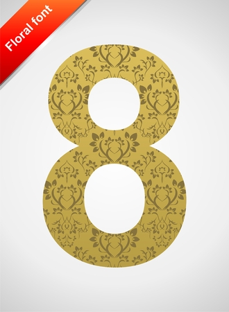 Floral number 8 isolated on the seamless retro golden damask background Stock Vector - 5604557
