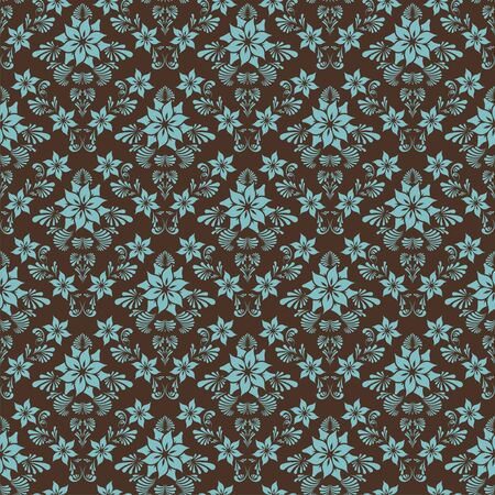 tiled: Seamless retro damask background with flowers. Illustration