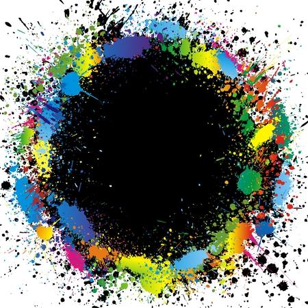 splash paint: Bordure de taches de peinture de couleur. Arri�re-plan d�grad� vecteur