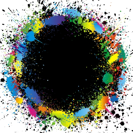 splats: Color paint splashes border. Gradient vector background Illustration