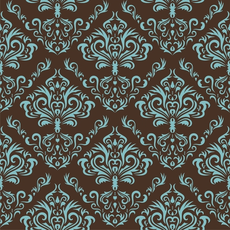 Seamless retro damask background with flowers. Vector