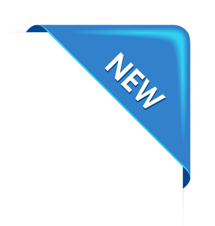 business products: New blue corner business ribbon on white background